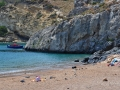 Pláž Melidoni na Kythire je organizovaná. Je tu malý bufet a ležadlá so slnečníkmi. Bez WC.